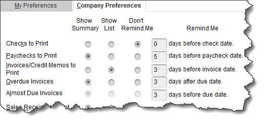 Using QuickBooks' Reminders and Calendars Company Preferences